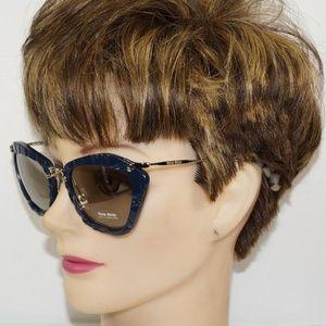 Miu Miu Cat Eye Blue Gold Sunglasses SMU 10N